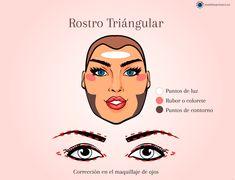 Contorno, luz y color según tipo de rostro #maquillaje #makeup #makeupartist #makeuptips #contour #contorno #contouring #highlights Makeup Techniques, Contour Makeup, Makeup Ideas, Tips, Beauty, Contouring, Rouge, Blush, Professional Makeup