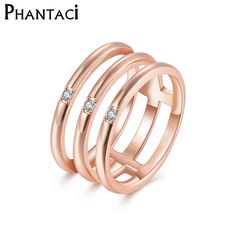 2017 New Women Geometric Rings Micro CZ 3 Layer Pattern Ring Rose Gold Color Fashion Jewelry for Wedding Engagement #Affiliate
