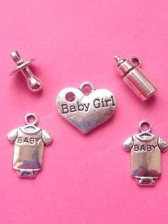 Excited to share the latest addition to my #etsy shop: Its a girl! Antique silver plated charm collection x 5. Baby girl charms, girl charms, charms for bracelet, unique charms for jewelry making #supplies #silver #silvercharms #pink #sparklycharms #pinkcharms #babycharms #craftaccessories #unusualcharms