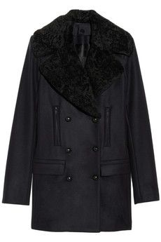Oh, so pretty. Navy shearling double-breasted coat