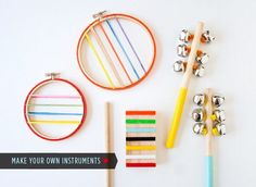 "homemade musical instruments out of easy to find supplies - jingle bells, embroidery hoop ""guitar"""