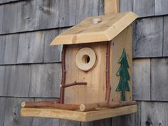 Rustic Bird House made of Pine with Clean Out.... $40.00, via Etsy.