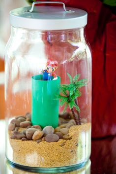 Geeky Terrarium Centerpieces! Omg I want to do this :)