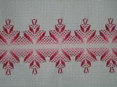 Discover thousands of images about Patrones Punto de Cruz: punto yugoslavo Swedish Embroidery, Towel Embroidery, Simple Embroidery, Embroidery Stitches, Embroidery Patterns, Applique Quilt Patterns, Stitch Patterns, Swedish Weaving Patterns, Bargello Needlepoint