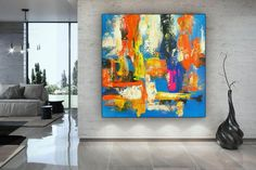 Abstract Art-Original PaintingIndustrial DecorDine Room Wall image 0 Large Artwork, Colorful Artwork, Extra Large Wall Art, Large Painting, Painting Canvas, Acrylic Paintings, Oversized Wall Art, Abstract Canvas Art, Abstract Paintings