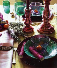 Jewel toned holiday table.  - so pretty.