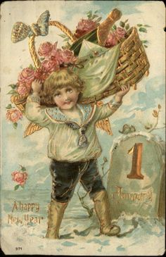 NEW YEAR Little Boy w Basket of Pink Flowers & Champagne c1910 Postcard