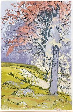 ✨ Oscar Droege (1898-1983) - Herbstlicher Baum im Sonnenschein, Farb-Holzschnitt ::: Autumnal Tee in Sunshine, Colour Woodcut