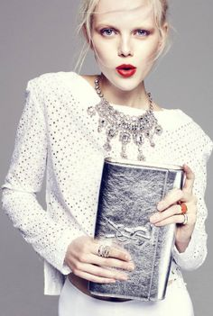 Red lips-statement necklace-YSL silver clutch-blonde-white shirt