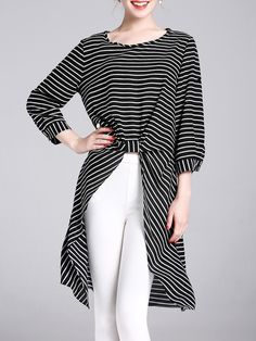#AdoreWe StyleWe Tunics - YIYIQI Stripes 3/4 Sleeve High Low Crew Neck Tunic - AdoreWe.com
