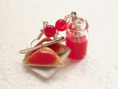 Toast and Jam earrings. Polymer clay. by GiraffesKiss on Etsy