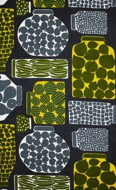 Marimekko fabric Purnukka green, by Erja Hirvi, Graphic Patterns, Textile Patterns, Textile Design, Marimekko Fabric, Textiles, Illustrations, Pretty Patterns, Surface Pattern, Printing On Fabric
