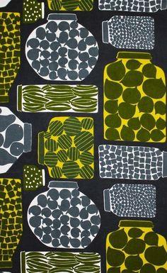 Marimekko fabric Purnukka green, by Erja Hirvi, 145x50cm