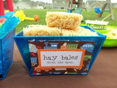 Rice crispy treats look like Hay bales [from To Heaven and Back: Daniel's Birthday Bash Decor] Farm Animal Party, Farm Animal Birthday, Barnyard Party, Farm Birthday, Farm Party, 2nd Birthday Parties, Birthday Party Decorations, Birthday Ideas, Barnyard Decorations