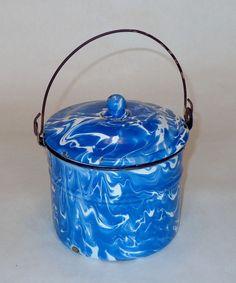Rare AZURE Blue and White Large Swirl Graniteware BERRY BUCKET