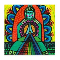 Rainbow Bridge Buddha Art Tile Ceramic Coaster Print of painting by Heather Galler Awakening Spirtual Art Lightworkers Ascension