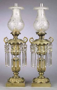 A Pair of English Gilt Brass Argand Lamps , c. converted to kerosene after with acanthus leaf decorated s. Antique Oil Lamps, Old Lamps, Antique Lighting, Large Vintage Wall Clocks, Vintage Lamps, Chandelier Design, Chandeliers, Victorian Lamps, Art Deco Table Lamps