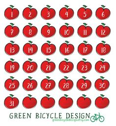 Apple Numbers Planner Stickers for ECLP by GreenBicycleDesign