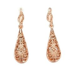 Riakoob 18k Rose GoldPlated Openwork Drop Earrings With Swarovski