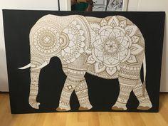 Freehand Gold Elephant Mandala Design with Matte Black Background