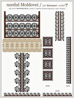 Semne Cusute: iie din nordul MOLDOVEI, Botosani Folk Embroidery, Cross Stitch Embroidery, Embroidery Patterns, Cross Stitch Patterns, Knitting Patterns, Palestinian Embroidery, Cross Stitching, Beading Patterns, Weaving