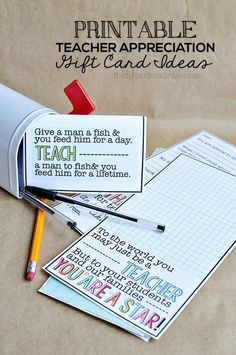 Cute Printable Teacher Gift Cards from http://www.thirtyhandmadedays.com