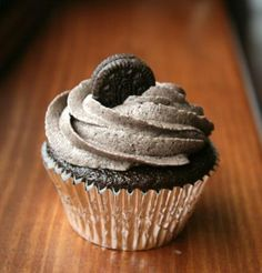 Oreo Cupcakes With Oreo Buttercream: These cupcakes have a little treasure at the bottom (an Oreo cookie!) which makes them the ultimate cookie cupcake.
