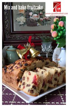 Simple Mix and Bake Fruit Cake With Royal Icing (简易杂果蛋糕) - Guai Shu Shu Boiled Fruit Cake, Buttercream Cake Designs, Different Cakes, Big Cakes, Mixed Fruit, Baking Tins, Occasion Cakes, Cake Tins, Christmas Baking