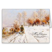 Vintage Christmas Hunter   Winter Greeting Card