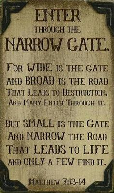 Matthew 7:13-14 Small is the gate and narrow is the road that leads to Life <3