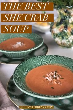 Crab bisque is a classic from Charleston. This easy recipe is one of the best to recreate the southern flavors of a delicous crab favorite. | She crab soup recipe | what to eat in South Carolina… More
