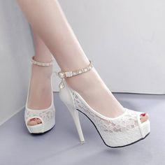 d905b82ab24 RUIDENG women super high heel wedding pumps 12cm peep toe sweet sexy party  shoes lady lace platform 4cm thin heels