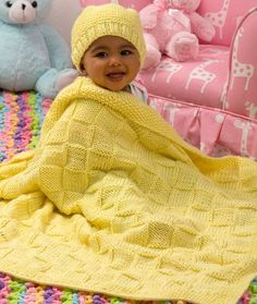 Baby Blocks Blanket and Hat Set Free Knitting Pattern from Red Heart Yarns