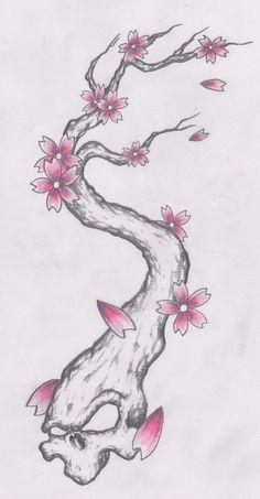 ... cherry skulls on Pinterest   Cherry blossom tattoos Cherry blossoms