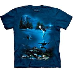 STORMY NIGHT Killer Whale The Mountain Orca Ocean Blue Sea T-Shirt S-3XL NEW #TheMountain #GraphicTee