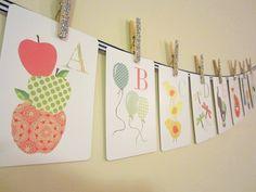 Alphabet Nursery Art Cards, Kids Wall Art, Alphabet Flash Cards, Twenty-six 5 x 7 Wall Cards, Alphabet Prints. $34.50, via Etsy.