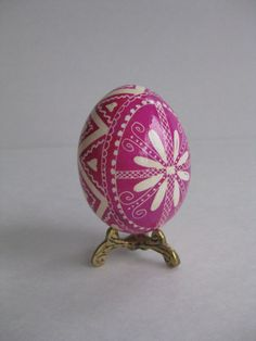 Pink Pysanka egg shell hand painted batik, Ukrainian Easter egg