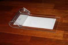 """Vintage Lucite Desktop Paper Note Pad Holder Clear Acrylic 5"""" x 8"""" by DebiLynneVintage on Etsy"""