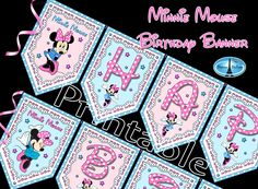 aaartz PERSONALIZED Minnie Mouse Banner Printable 1st Birthday Minnie Mouse Birthday Banner, PERSONALIZED Minnie Mouse Birthday Party Banner by DetourDuJour on Etsy