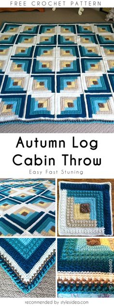 20 Autumn Log Cabin Throw Free Crochet Pattern – There are so many different enjoyable things to crochet! Crochet Afghans, Crochet Quilt, Crochet Blocks, Crochet Squares, Crochet Granny, Crochet Yarn, Crochet Stitches, Free Crochet, Manta Crochet