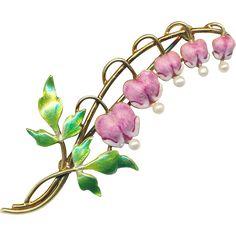 Brooch--Art Nouveau Enamel Bleeding Hearts & Pearls on 14 Karat Gold
