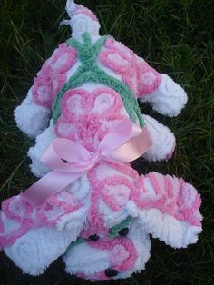 Stuffed Vintage chenille bedspread Puppy Dog Pink by KikiKreation-SOLD