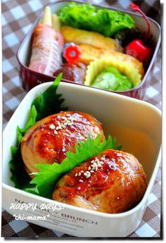 Pork Tariyaki Wrapped Rice Balls (Nikumaki Onigiri) Bento Lunch|弁当