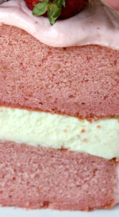Strawberry Cheesecake Cake ~ a strawberry cake, classic cheesecake and strawberry buttercream frosting
