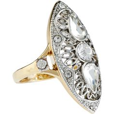 Accessorize Vintage Shield Ring (64 RON) ❤ liked on Polyvore featuring jewelry, rings, sparkle jewelry, vintage jewellery, accessorize jewelry, vintage style rings and vintage rings