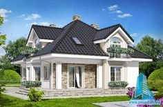 Einfamilienhaus Design Haus in Coconuts - Baustil Flat House Design, Duplex Design, Classic House Design, Modern House Design, Modern Bungalow House, Bungalow House Plans, Exterior House Colors Combinations, Architectural House Plans, American Houses