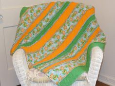 Flannel Rag Quilt Orange Green Blue Smiling Frogs by Ashlawnfarms, $80.00
