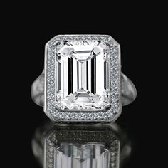 The 12 CT. Emerald Cut important vintage micro pave halo Vintage Sterling Silver Cocktail/engagement/wedding ring, simulated diamond - Diamond Veneer is designe Simulated Diamond Rings, Diamond Wedding Rings, Diamond Engagement Rings, Man Made Diamonds, Lab Created Diamonds, Emerald Cut Diamonds, Diamond Cuts, Diamond Decorations, Cubic Zirconia Engagement Rings