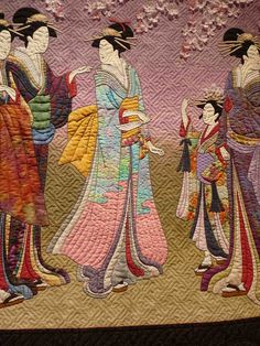 "Detail from ""Sakura 1: Hanaogi Views the Cherry Blossoms"" by Megan Farkas. The background filler pattern is so appropriate for this Asian quilt."