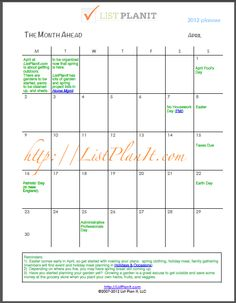 A Look at The Month Ahead (April 2012).  Get a free downloadable calendar for the months of April.